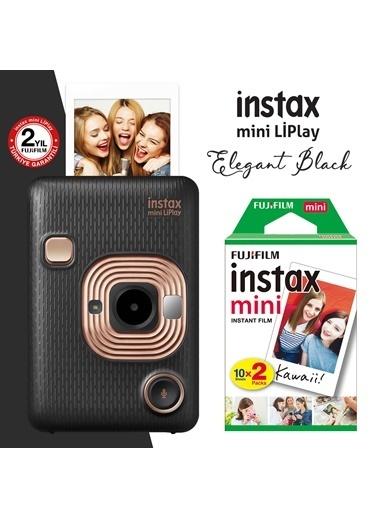 Fujifilm Instax Mini Liplay Hybrid Elegant Black Fotoğraf Makinesi 20Li Mini Film Siyah